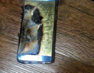 Samsung Galaxy note 7 горит